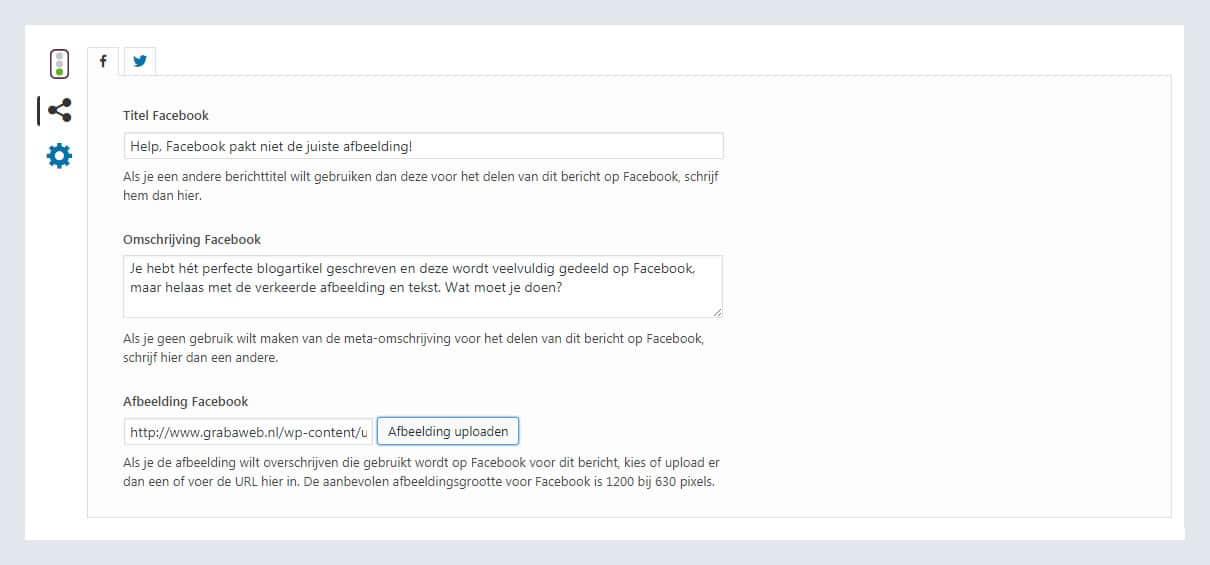 Open Graph Metadata facebook met behulp van SEO Yoast